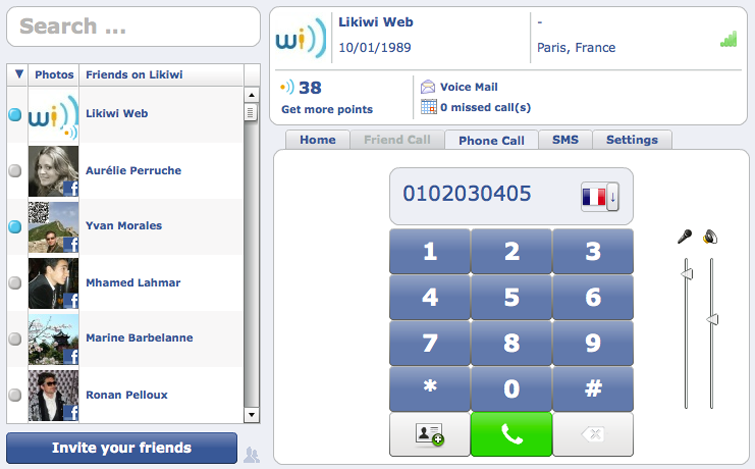 screenshoot de l'application Likiwi pour telephoner gratuitement